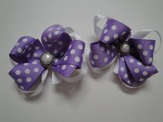 Set of 2 layered purple and white bows on alligator clips with pearl buttons for only $12.50 - one-of-a-kind!!