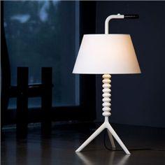 Elegante Tischleuchte Trinkhalm Design mit Stoff Schirm