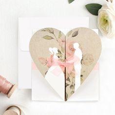 Invitatie de nunta inima maronie - Memoires.ro Wedding Boxes, Wedding Cards, Wedding Couples, Pin Up, Place Card Holders, Retro, Wedding Dresses, Floral, Design