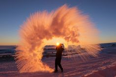 Hot Water Thrown Into The Air In Antarctica