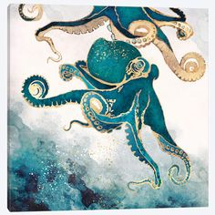 Metallic Octopus Art Print by SpaceFrog Designs Framed Art Prints, Poster Prints, Underwater Art, Underwater Tattoo, Underwater Animals, Underwater Photography, Nature Photography, Posca Art, Canvas Art