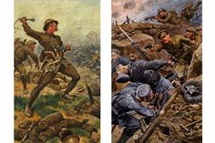 Second Lieutenant W. H. G. Jessup, Duke of Cornwall's Light Infantry, on the Western Front (Left) and Winning the Military Cross during the Battle of the Somme (Right) by Stanley Llewelyn Wood (Both 1916)