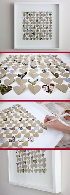 Super Cool 3D Wedding Guest Book Idea. #weddingideas #guestbook #wedding #bride #bridal #giftideas #ad Diy Food Gifts, Craft Gifts, Diy And Crafts, Paper Crafts, Arts And Crafts, Honeymoon Gifts, 3d Wall Art, Heart Cards, Teacher Appreciation Gifts