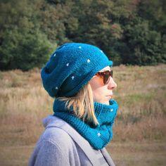 Women Hand Knitted 2 Set / Dark Cyan Slouchy Beanie  by RUKAMIshop