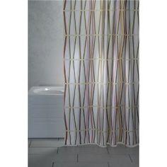 "DUSCHVORHANG ""BAMBÚ"" WEIß MIT BUNTEM BAMBUS Textil 180cm breit x 200cm lang inkl. Ringe shower curtain: Amazon.de: Küche & Haushalt"