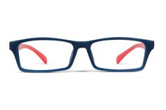 Allegra - Rectangle shape frames. hese frames have an ocean blue front contrasted with red arms and a semi-gloss finish. Love the colour combination. Would like them to be less squared off at the bottom of the frames.