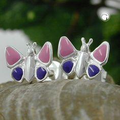Örhängen lila-rosa fjäril barn Äkta Silver