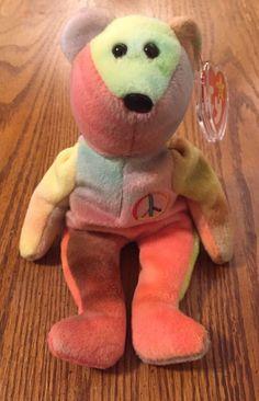 4fc5ba31596 Rare 1996 Ty Beanie Baby Peace Bear Original Tag PVC Pellets MWMT - Tag  Errors
