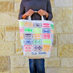 "morena's corner: ""Old School"" Neon Tote Bag DIY with Tulip Fabric Paint"