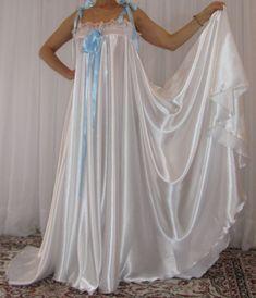 VTG Lingerie Silky Satin Slip FULL Sweep Negligee Babydoll LONG Nightgown M- 6X #satin #RobeGownSets #Lingerie