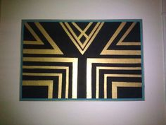 DIY: 1920's art deco ( The Great Gatsby themed) cork bored.  Black  Gold Turquoise Love! So easy to do! Just tape and a ruler!