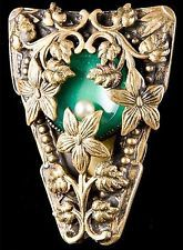 Vintage Arts & Crafts Beautifully Ornate Green Stone Dress Fur Clip Brooch