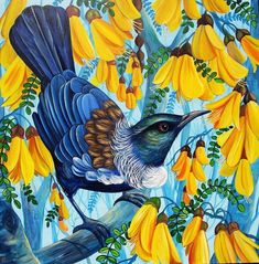 Spring in the Air Art Print by Irina Velman. All prints are professionally printed, packaged, and shipped within 3 - 4 business days. Choose from multiple sizes and hundreds of frame and mat options. Maori Patterns, Bird Artwork, Bird Paintings, School Murals, New Zealand Art, Nz Art, Cartoon Fish, Maori Art, Wall Art For Sale