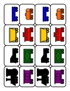 Train car patterns - Could cut them out of felt. Transportation Activities, Train Activities, Kids Learning Activities, Classroom Activities, Ground Transportation, Toddler Learning, Trains Preschool, Preschool Literacy, Preschool Ideas