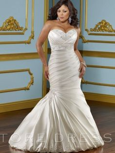 2013 Style Trumpet / Mermaid Sweetheart Applique Sleeveless Court Trains Taffeta Wedding Dress For Brides at Storedress.com