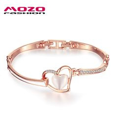 New Style Women Romantic Jewelry Rose Gold Color Heart Bracelet Inlaid Zircon Opal Charm Bracelets Valentine's Day Gift LGPB130 #Affiliate