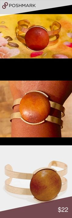 "🎉NEW ITEM🎉Wooden Cabochon Cuff Bracelet A gorgeous cuff with an earthy touch.  Details:  * Lead & Nickel compliant * Color: Brown, Matte Gold * Theme: Wood * Size: 1.25"" * Cuff Bracelet Jewelry Bracelets"