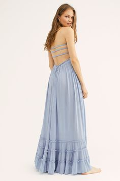 Presented by Free People. In 9 colors. Crinkly strapless maxi dress, made from sheer and gauzy fabric, with a stretchy smocked bodice, halter neck tie, and strappy back. Casual Dresses, Summer Dresses, Maxi Dresses, Summer Rain, Strapless Maxi, Fashion Over 50, Free People Dress, Summer Collection, Style Guides
