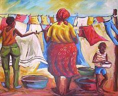 | Hanging the Washing by South African Artist Itai Vangani