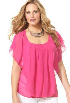 Plus Size Cascading Ruffle Blouse | Plus Size Shirts & Blouses | Avenue