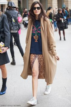 atta girl! Chiara in Carven's bambi skirt & cool camel topper. well played. Paris. #ChiaraTotire