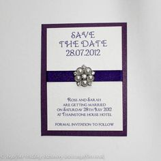 Cadburys Purple Save the Date with Brooch - Vintage Wedding Stationery Scotland - VOWS Award Nominee 2013 Purple Wedding Stationery, Modern Wedding Invitations, Wedding Invitation Design, Wedding Cards, Purple Save The Dates, Wedding Prints, Save The Date Cards, Vintage Brooches, Dating