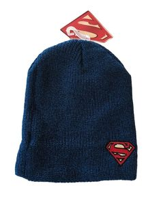 3b895a70d42 DC Comics Superman Shield Patch Marled Slouch Beanie Knit Hat NWT