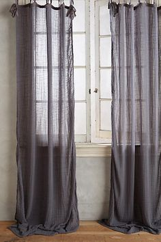 "NEW ANTHROPOLOGIE GRAY COTTON TIE-TOP CURTAIN WINDOW PANEL 50 X 63"" #Anthropologie"