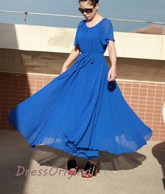 Royal blue maxi dress, royal blue chiffon dress, bridesmaid dress, plus size dresses,evening dress, long summer dress