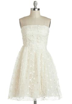 Scathingly Brilliant Dress - Cream, Solid, Wedding, 50s, Empire, Strapless, Spring, Cocktail, Mid-length, Lace, Ruching, Vintage Inspired, Graduation