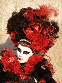 Red Roses.  Venice Carnival 2014 by Lesley McGibbon