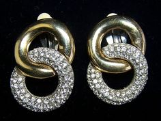 Book Piece: Givenchy Crystal Rhinestone Gold Plated Rhodium Earrings