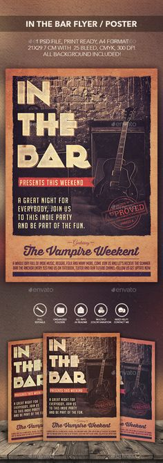In The Bar Flyer Poster  — PSD Template #festival #retrobox • Download ➝ https://graphicriver.net/item/in-the-bar-flyer-poster/13288975?ref=pxcr