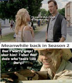 haha one of the many reasons to dislike Andrea...she shot Daryl. The Walking Dead.