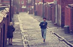 Causally going for a run on the cobbles through the back streets of Salford. Blood Brothers, Manchester England, Salford, Railroad Tracks, Nostalgia, Street, Life, Working Class, Fans