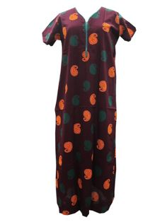 Maroon Maxi Nighty Paisley Print Cotton Evning Wear Dress