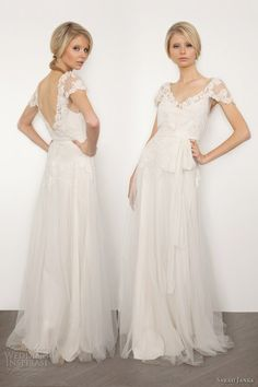 Wedding dress with lace sleeves.