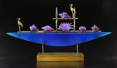 Blue+Ibis+Boat by Georgia+Pozycinski+and+Joseph+Pozycinski: Art+Glass+&+Bronze+Sculpture available at www.artfulhome.com