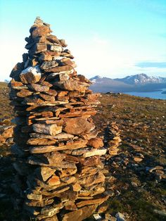 View from a cairn at the top of the mountain in TROMSØ, Norway, a bit past midnight. Photocredit:  Paul Mison