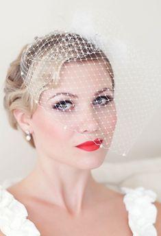 Birdcage Veil Embellished with Swarovski Pearls, Bridal Veil, Wedding veil. $39.00, via Etsy.