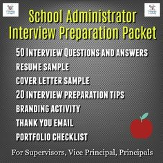 This School Administrator Interview Preparation Packet is for prospective school administrators looking for positions as Supervisor, Vice Principal, Assistant Principal, Director, and Principal. Assistant Principal Interview Questions, Interview Questions And Answers, School Leadership, Educational Leadership, Leadership Goals, Educational Administration, Dean Of Students, Vice Principals, Interview Preparation