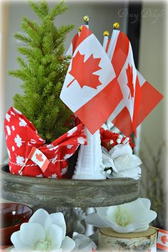 I got myself a new toy a little while ago in the form of a wooden tiered tray that I'd had my eye on for awhile. I thought what bette. Canada Party, Summer Centerpieces, Canada Holiday, Happy Canada Day, Canada Eh, Tray Decor, New Toys, 4th Of July, Activities For Kids