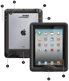 Lifeproof nuud case: highly protective case with exposed screen. Can be submerged in water safely. Sound amplification. Strap or cover/stand can be added for additional cost.