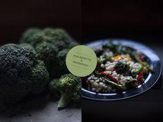 Insalata d'orzo con broccoli, peperoni grigliati ed olive nere