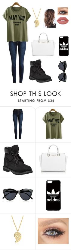 """Rough week you guys"" by blessed-with-beauty-and-rage ❤ liked on Polyvore featuring Timberland, Michael Kors, Le Specs, adidas, Sonal Bhaskaran and Lime Crime"