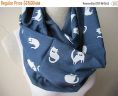 on sale ANimal CAT scarves/White cat print scarf/indigo navy blue linen cat infinity men's scarves-loop-circle-womens scarves-unisex cat lov by Scarves2012 on Etsy https://www.etsy.com/ca/listing/227020831/on-sale-animal-cat-scarveswhite-cat