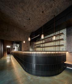 Cafe Restaurant, Restaurant Design, Charcoal Walls, Lobby Interior, Bar Lounge, Through The Window, Concrete Blocks, Bar Lighting, Retail Design