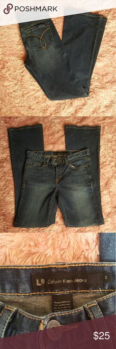 Calvin Klein Jeans I have beautiful gently used pair of calvin klein flare jeans. They are a size 2 and have a 31 inch seam. The coloring is dark but faded on the thighs and butt. If you have any questions feel free to ask or make an offer. Calvin Klein Jeans Flare & Wide Leg