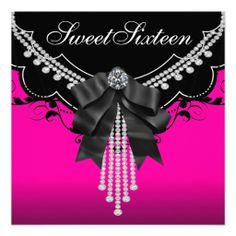 Black Hot Pink Sweet Sixteen Birthday Party Custom Invitations