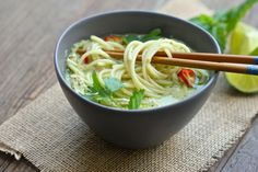 Spicy Asian noodle soup, with a rich coconut broth, lots of flavor from chiles, ginger, garlic, and herbs, and shredded chicken.  http://aredbinder.com/2017/09/chicken-laksa.html